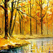 Stream In The Forest - Palette Knife Oil Painting On Canvas By Leonid Afremov Art Print