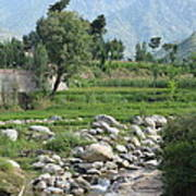 Stream Trees House And Mountains Swat Valley Pakistan Art Print