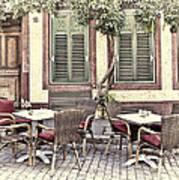 Street Cafe In Heidelberg Art Print