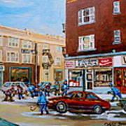Street Hockey On Monkland Avenue Paintings Of Montreal City Scenes Art Print