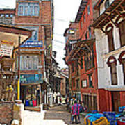 Street In Bhaktapur-city Of Devotees-nepal  Art Print
