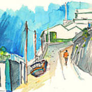 Street In Ericeira In Portugal Art Print
