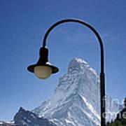 Street Lamp And Mountain Art Print by Mats Silvan