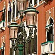 Street Lamps Of Venice Art Print
