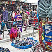 Street Market View From A Rickshaw In Kathmandu Durbar Square-nepal Art Print