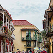 Street Scene In Old Town, Cartagena Art Print