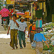 Street Scene In Tachilek-burma Art Print