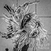Street Shadow Dancer 1 - Black And White - Square Crop Art Print
