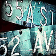 Street Sign In The Dark Art Print