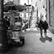 Street Vendor And Stairs In New York City Art Print