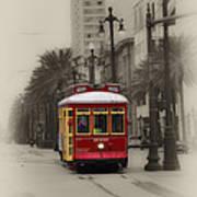 Streetcar On Canal Street - New Orleans Art Print