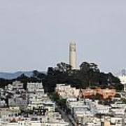 Streets Of San Francisco With Coit Tower Art Print