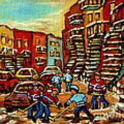 Streets Of Verdun Paintings He Shoots He Scores Our Hockey Town Forever Montreal City Scenes  Art Print
