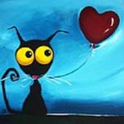 Stressie Cat And Her Love Balloon Art Print