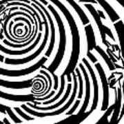 Stretching Cat Maze Art Print