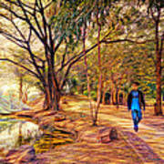 Stroll In The Park. Art Print