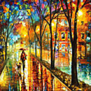 Stroll With My Best Friend - Palette Knife Oil Painting On Canvas By Leonid Afremov Art Print