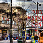 Strolling Towards The Market - Seattle Washington Art Print