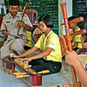 Students Playing Traditional Thai Instruments In Music Class At  Baan Konn Soong School In Sukhothai Art Print