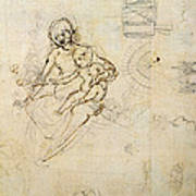 Studies For A Virgin And Child And Of Heads In Profile And Machines, C.1478-80 Pencil And Ink Art Print