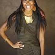 Studio Portrait Of African American Model Art Print by Kicka Witte