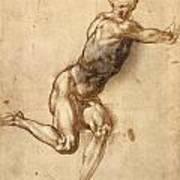 Study Of Figure To Battle Of Cascina Art Print