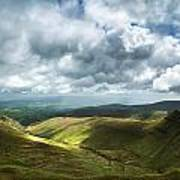 Stunning Large Panorama Landscape Of Brecon Beacons View From Pe Art Print