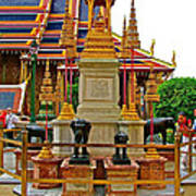 Stupa Surrounded By Elephants At Grand Palace Of Thailand In Ban Art Print