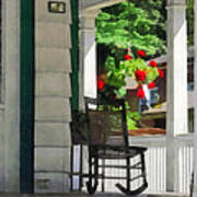 Suburbs - Porch With Rocking Chair And Geraniums Art Print by Susan Savad