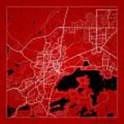 Sudbury Street Map - Sudbury Canada Road Map Art On Color Art Print