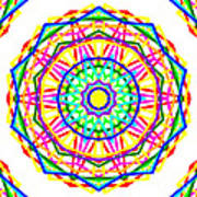 Sudoku Connections White Kaleidoscope Art Print