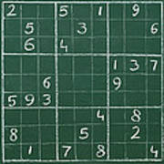 Sudoku On A Chalkboard Art Print