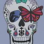 Sugar Candy Skull Blue Art Print