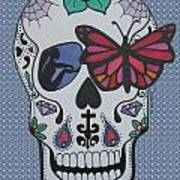 Sugar Candy Skull Bubbles Art Print