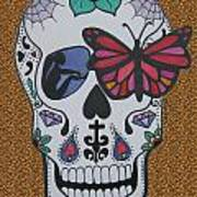Sugar Candy Skull Leopard Art Print