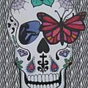 Sugar Candy Skull Zebra Art Print