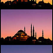 Suleymaniye Sundown Triptych 04 Art Print by Rick Piper Photography