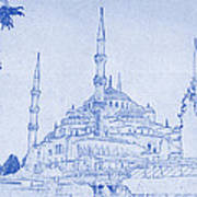 Sultan Ahmed Mosque Istanbul Blueprint Art Print