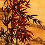 Sumi-e Red Bamboo Art Print by Diane Ferron