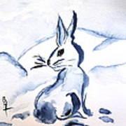 Sumi-e Snow Bunny Art Print