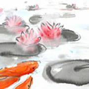 Sumie No.11 Koi Fish And Lotus Flowers Art Print by Sumiyo Toribe