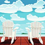 Summer Background Muskoka Chairs Art Print