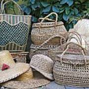 Summer Baskets And Hats Art Print