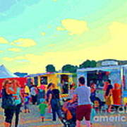 Summer Family Fun Paintings Of Food Truck Art Roadside Eateries Dad Mom And Little Boy Cspandau Art Print