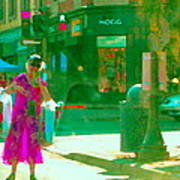Summer Heatwave Too Hot To Walk Lady Hailing Taxi Cab At Hogg Hardware Rue Sherbrooke Carole Spandau Art Print