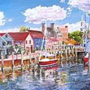 Summer On Bowens, Newport, Rhode Island Art Print