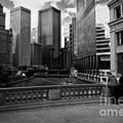 Summer On The Chicago River - Black And White Art Print