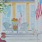 print Summer Porch and Flag for sale Art Print