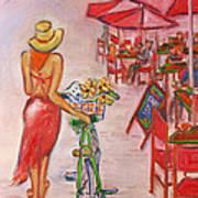 Summer Stroll By A Cafe Art Print