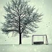Summer Swing Abandoned In Snow Beside Tree Art Print